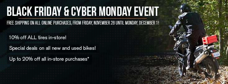 Black Friday and Cyber Monday Event - 10% off ALL tires in-store - Special deals on all new and used bikes!